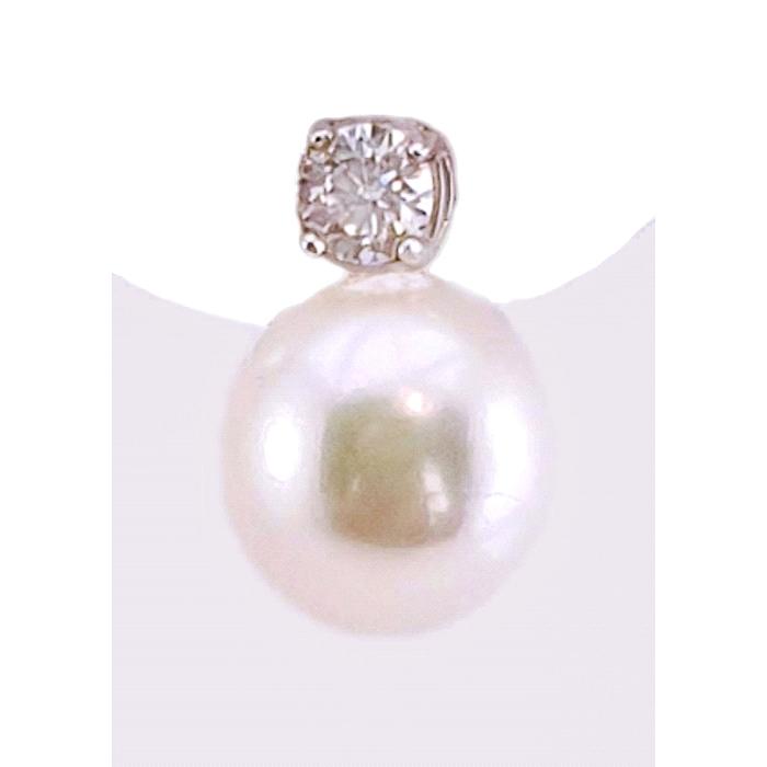 Pendientes oro 18 kt perla y circonitas.