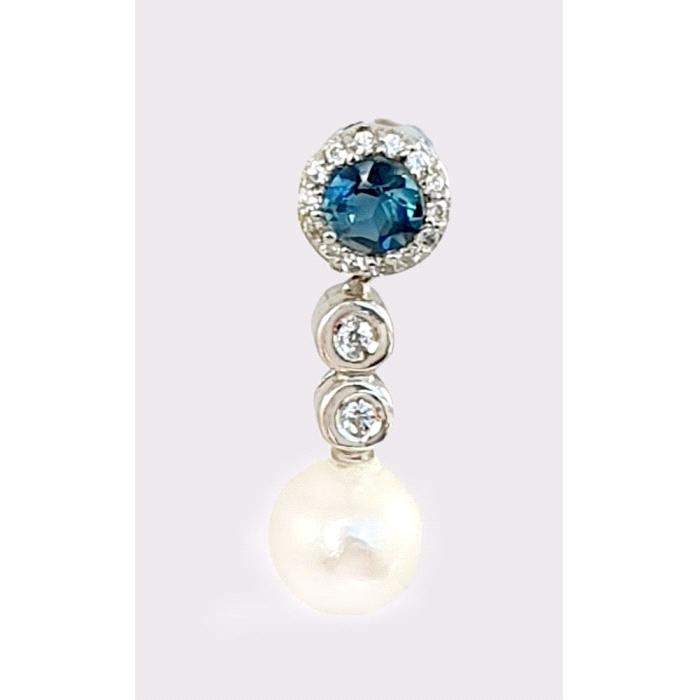 Pendientes oro 18 kt topacio blue london diamantes perla