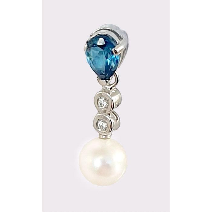 Pendientes oro 18 kt diamantes topacio blue london perla