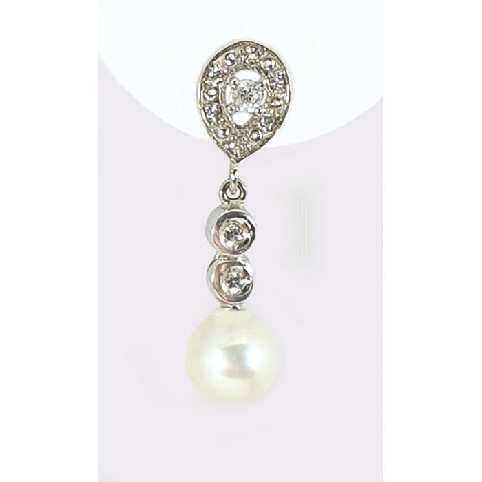 Pendientes oro 18 kt diamantes perla