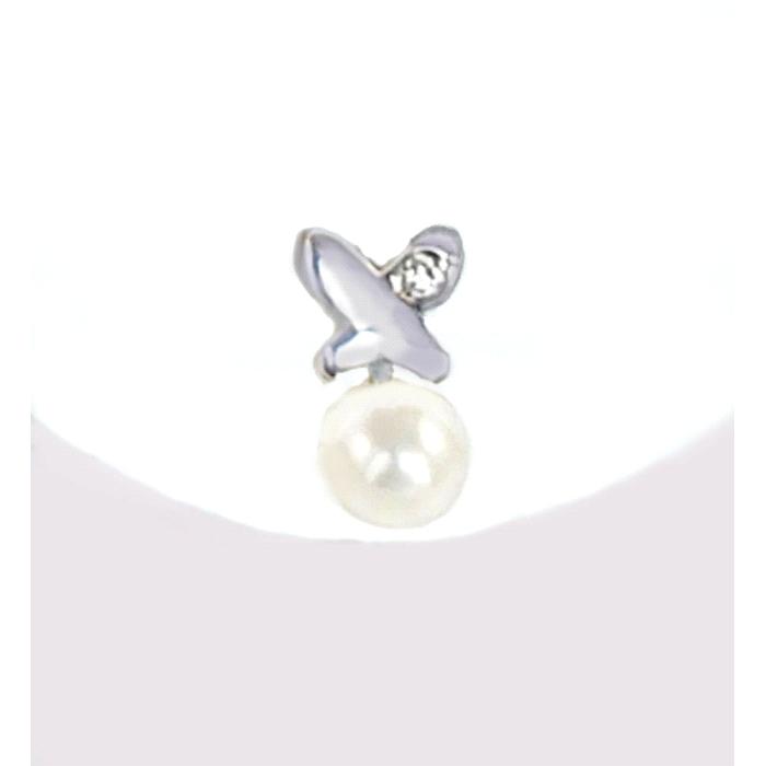 Pendientes niña oro 18 kt diamantes perla