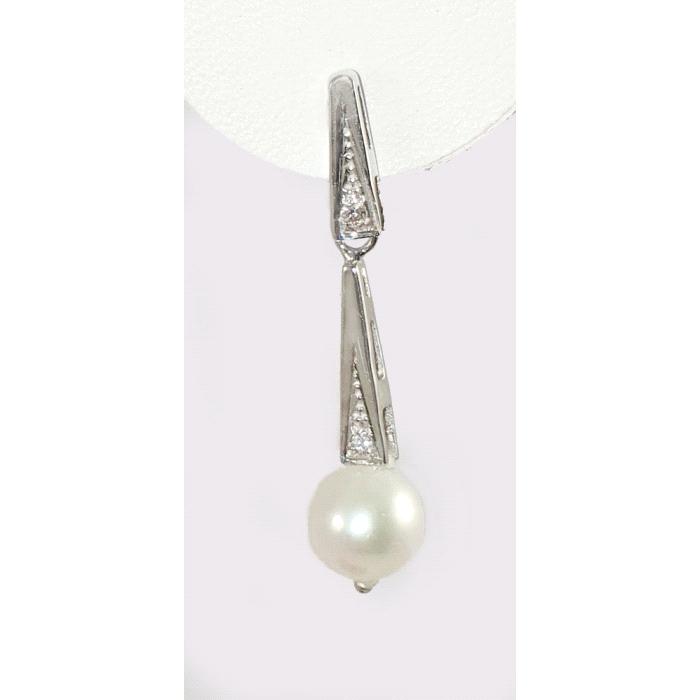 Pendientes oro 18 kt perla diamantes