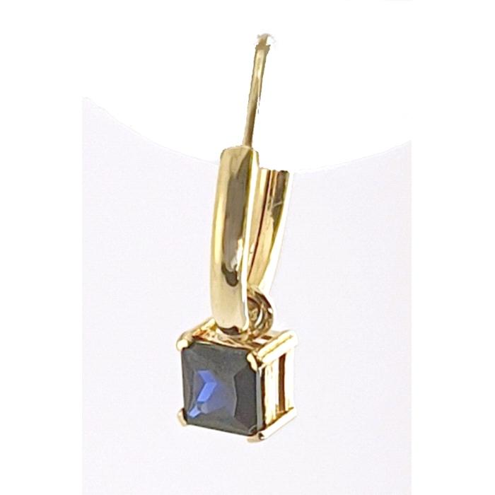 Pendientes aro oro 18 kt nano color cuadrado