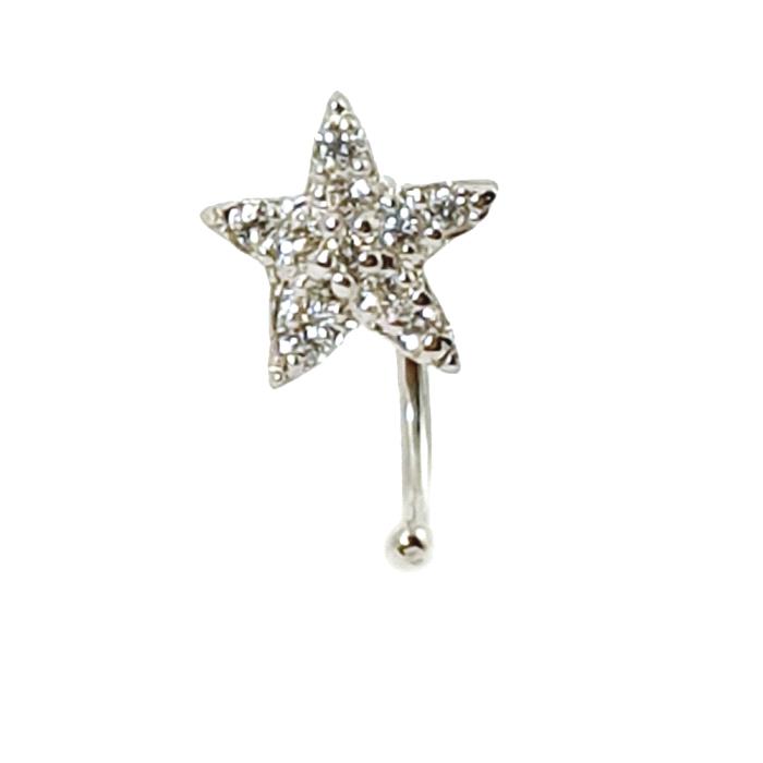 Pendientes ear cuff estrella oro 18 kt diamantes