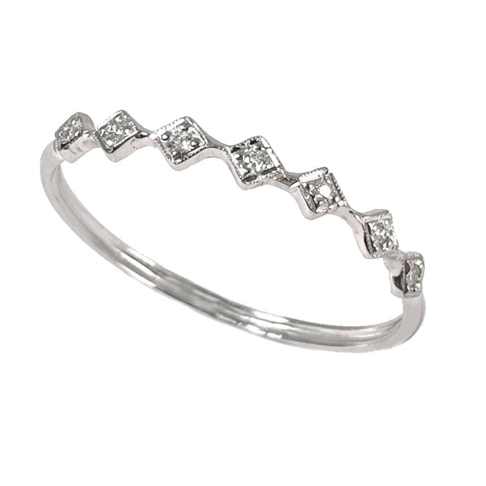 Anillo media alianza oro 18 kt diamantes 0.03 ct