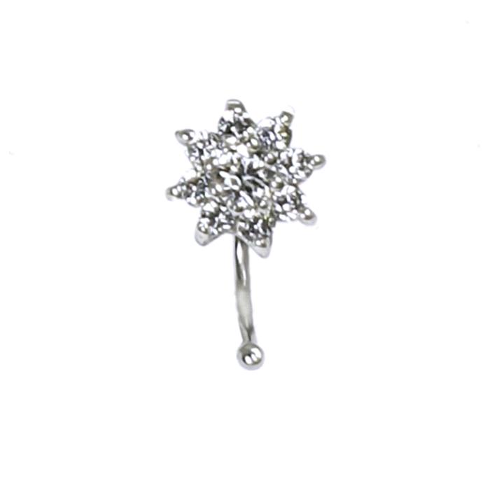 Pendientes flor ear cuff oro 18 kt circonitas